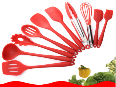 10 pieces suit silicone kitchenware